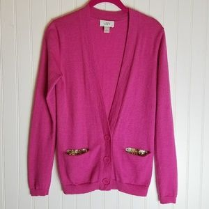 Ann Taylor LOFT Fuschia Cardigan with Sequins